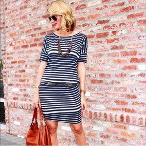 CAbi Blue&Gray Striped Perfect Tee Dress Sz.L